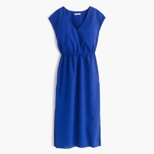 J CREW Drapey Perforated Midi Dress Blue 2